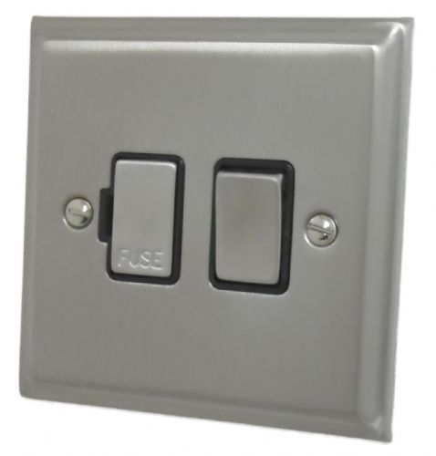 G&H DSN357 Deco Plate Satin Nickel 1 Gang Fused Spur 13A Switched